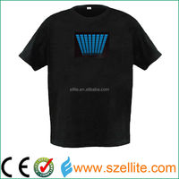 Latest men's style pure 180gsm cotton el led t shirt