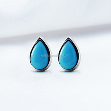 Fashion vintage turquoise silver ,rain drop shape earings palm earing for women
