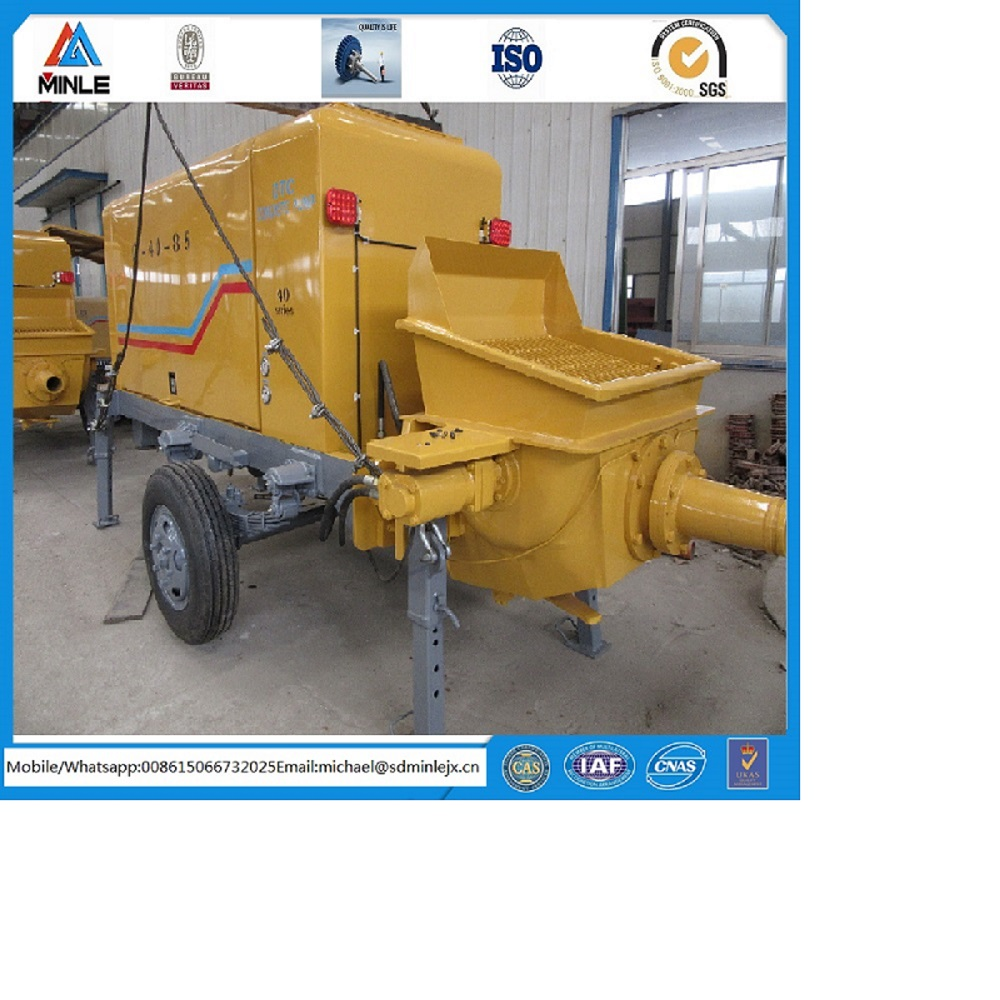 hydraulic power pumping concrete machine, vehicle mounted trailerable concrete pump, ISO BV Certificate China factory