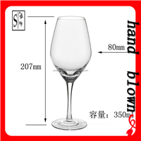 promotional gift 350ml lead-free crystal red wine glass/glass goblet with decel HRWG-037
