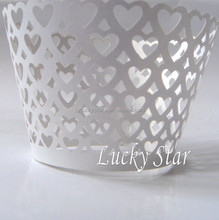 White Heart laser cut pearl paper cake cup muffin cupcake wrapper for birthday wedding valentines day decoration