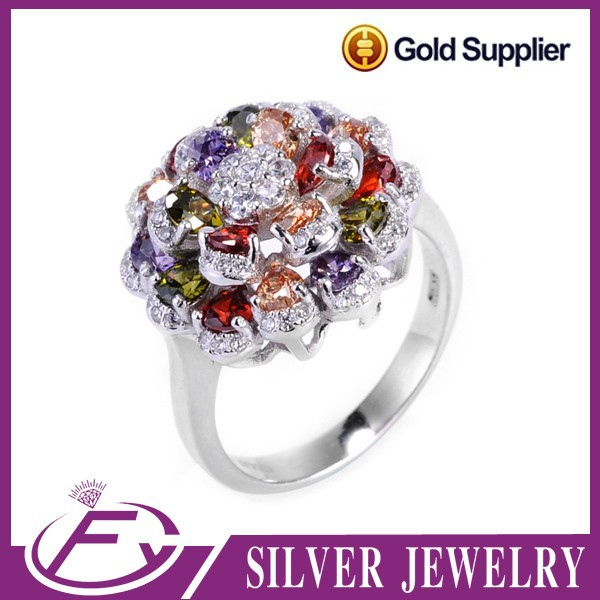 AAA cz stone prong setting 925 sterling silver various of different color ring