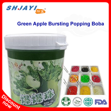 New Product Green Apple Flavor Popping Boba Fruit Juice In Popping Balls Bursting Boba For Bubble Tea Ingredients