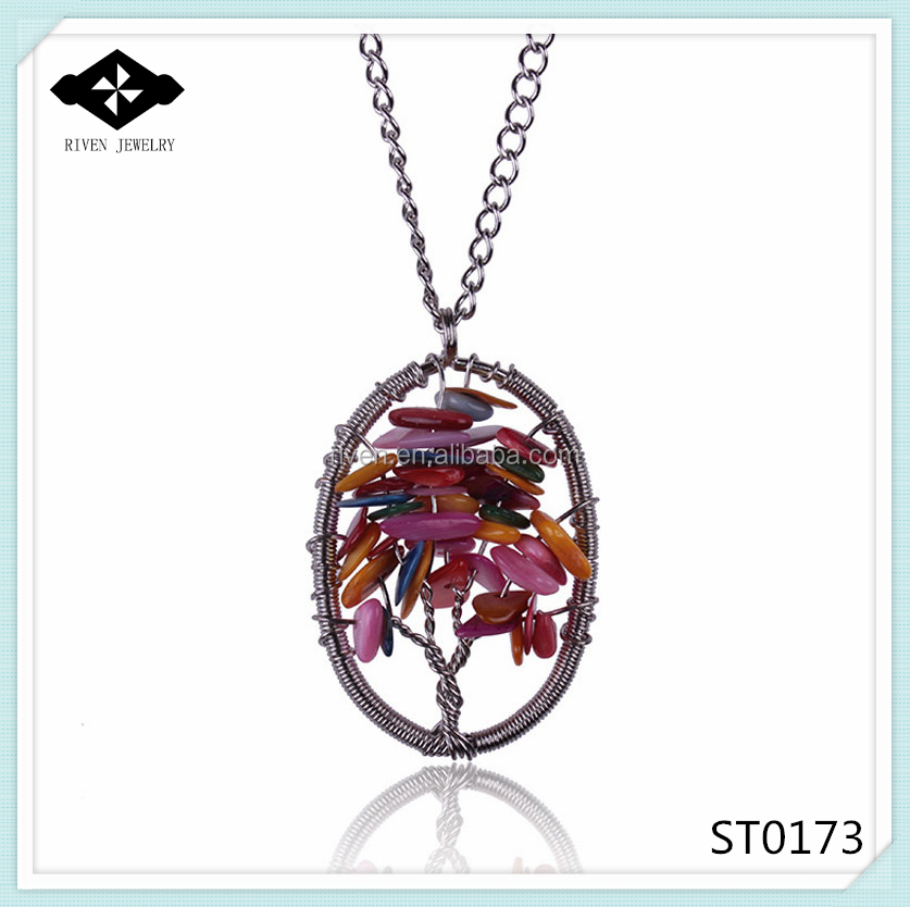 ST0173 Elegant Ladies Tree Of Life Handmade oval natural shell pendant necklace.jpg