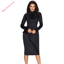 Fashion Ladies Latest Design Black Turtleneck Bow Peplum Dress