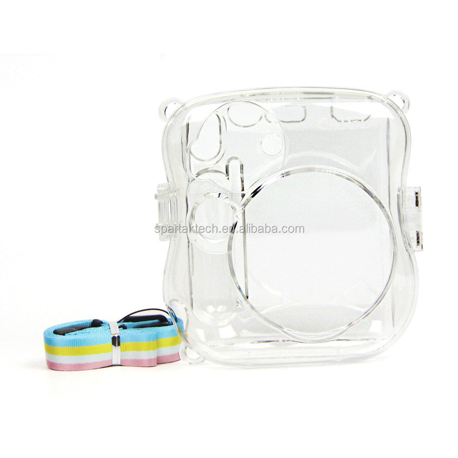 For Fujifilm Fuji Instax Mini25 Mini26 Polaroid Camera Crystal Shell Plastic Protect Case Clear With Strap Hot