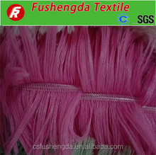 2016 changshu city long fur drawn needle process 100%polyester pv fleece tie- dyed fur throw fabric with around 30 colors