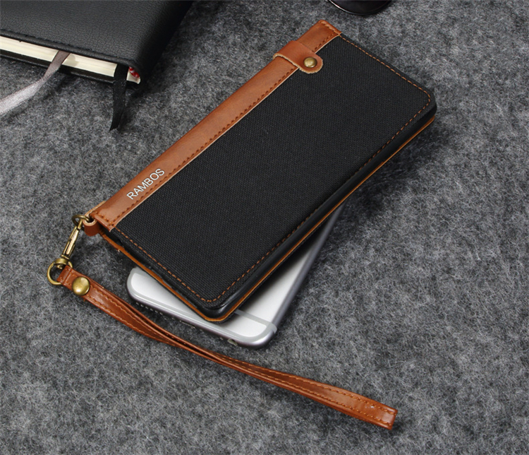 PU Wallet Cases Magnetic Flax Denim Flip Leather Case <strong>Cover</strong> with Credit Card Holder and Strap for Iphone 6