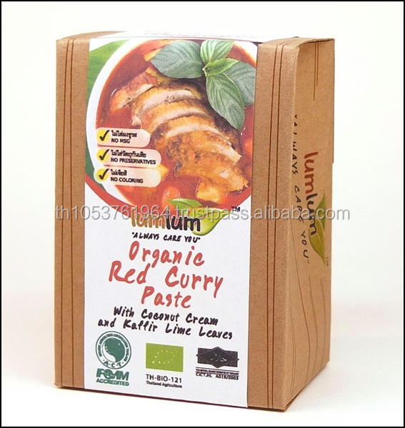 Certified Organic Red Curry Paste+Coconut Cream (100g) - Authentic Thai taste combined with savory taste & abundant Thai herb