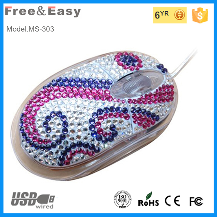 LED light up crystal/bling transparent mini 3d wired optical mouse wired for christmas gift
