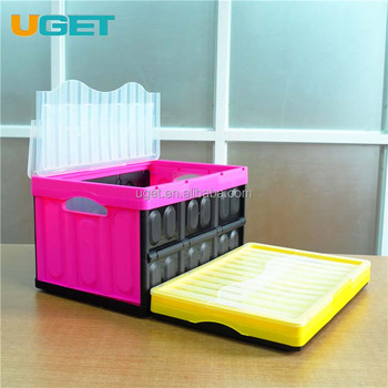 Collapsible Folding Storage Crate Box Tub Container Plastic Tote Box With Lid