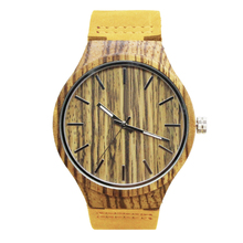 Cheap private label digital leather belt sandwood pocket mechanical waterproof wood watch