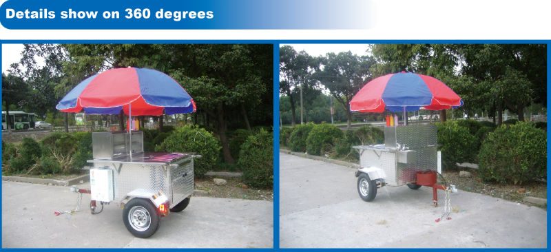 BAOJUHD-12BNew model mobile gas hot dog cart cheap price CE approval gas hot dog cart customized cheap gas hot dog cart for sale