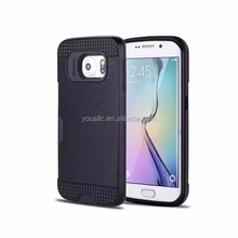New Brushed card slot Aluminium & tpu hybrid 2 in 1 moblie phone Case Cover For Samsung Galaxy S6