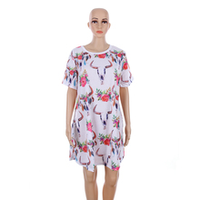 Wholesale Monogrammed Floral Printed Long Sleeve Cow Skull Dress