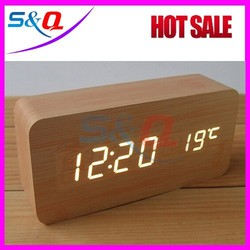 LED display antique table clock with thermometer