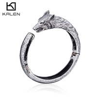 Global Wholesale Wolf Head Style Stainless Steel Men Bangle