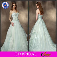 Dreamy Colour Organza Ball Gown Strapless Court Train Crystal Ukraine France Designer Wedding Dresses