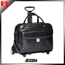 Customize top quality leather trolley laptop bags wheeled laptop case