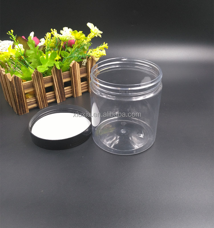 food grade plastic round 350ml clear plastic jars with aluminum lids