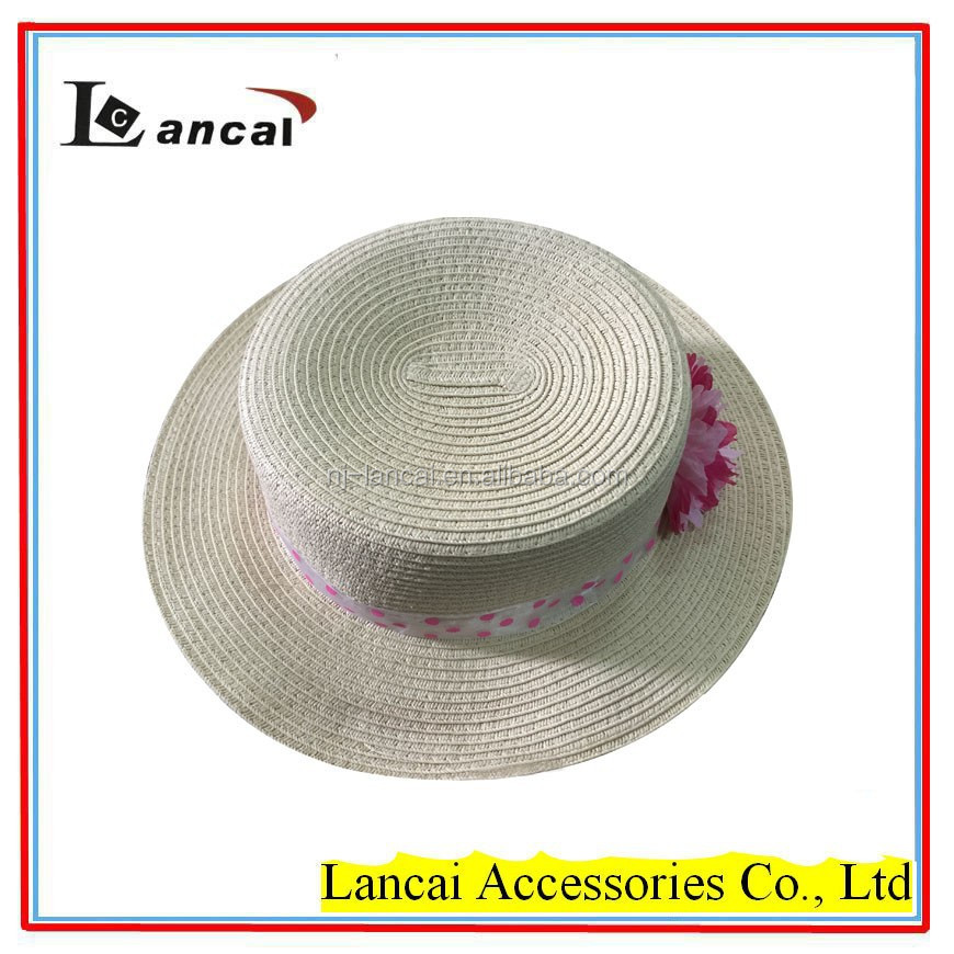 2016 hot sale girls paper straw boater hat with corsage trim pink spot ribbon paper straw hat