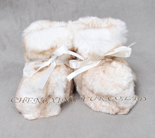CX-SHOES-07F Real Rabbit Fur Winter Warm Baby Shoes
