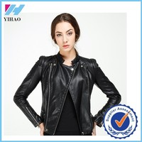 Trade Assurance Yihao 2015 Woman Winter Casual Faux Leather Black High Quality Zipper Short Jacket