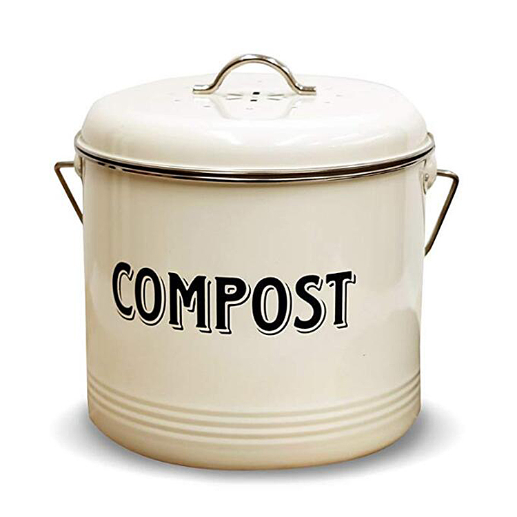 Wholesale Powder-Coated galvanized Steel kitchen trash can pail countertop compost bin