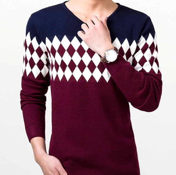 S10684A Hot sale! men's new design sweater rhombus V neck long sleeve sweater without hood