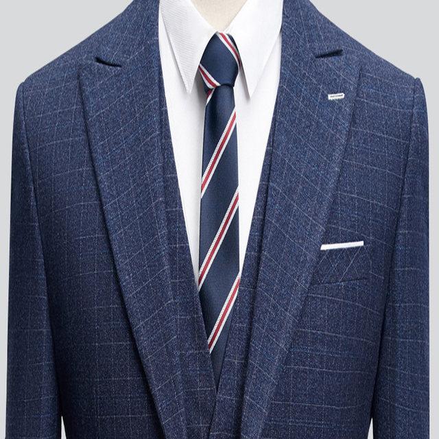 Online Shop Dark Blue Striped Blazer Men Business Style Suit Wedding ...