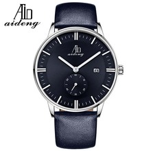 AIDENG Private label watch genuine leather watch man wrist watch