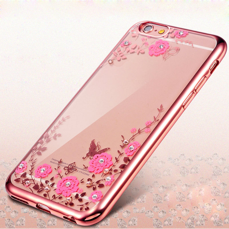 Clear Bling Diamond Flowers Plating Frame Soft TPU Case For iPhone 6 Plus Ultra Thin Clear Silicone Cover For iPhone 6s Plus