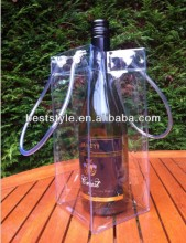 Easy to take shiny wine bottle plastic bag ice cooler bag
