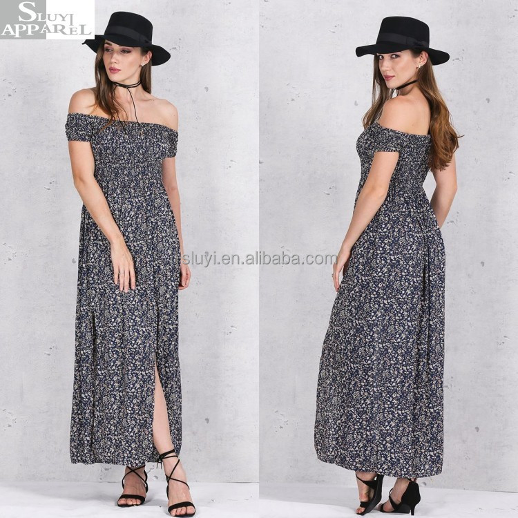 Plus Size Women Dresses Clothing Sexy Side Split Off Shoulder Print Summer High Waist Pleated Vintage Beach Maxi Dress