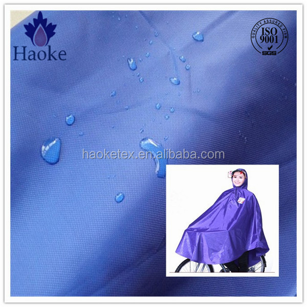 100% polyester 190T taffeta pu coating waterproof raincoat fabric