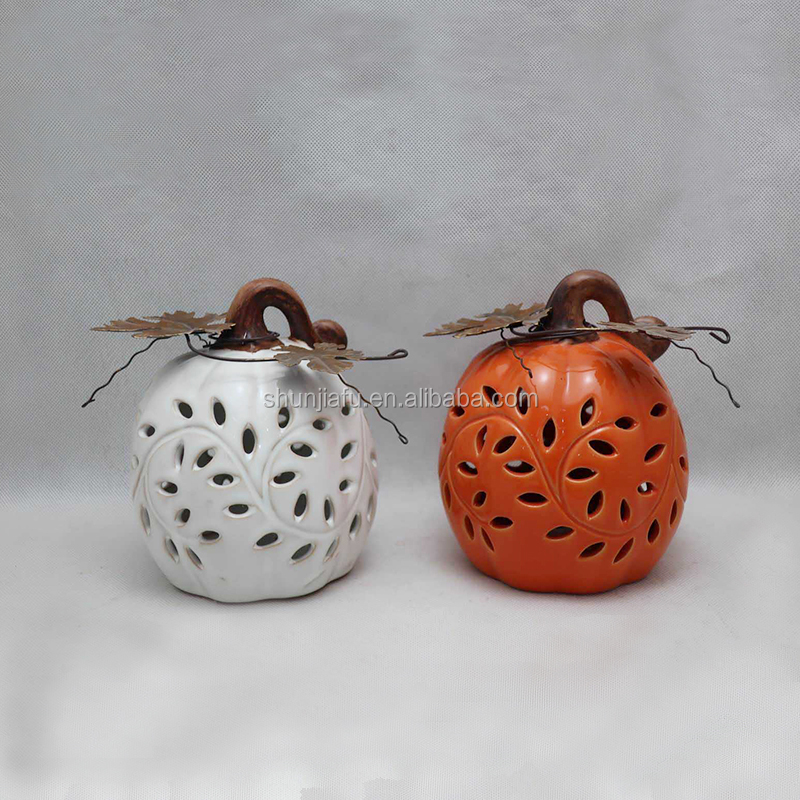 Ceramic Pumpkin LED Light Halloween Decoration