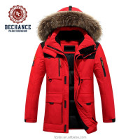 Winter Long Thick Fur Hooded Down Jacket Sport Casual Coat Men