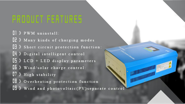 24V/48V rated power 1kw high end PWM wind solar hybrid controller built in unloading box