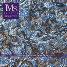 Hot sales products for blue PVC sequin embroidery net fabric trimming for luxury cloths