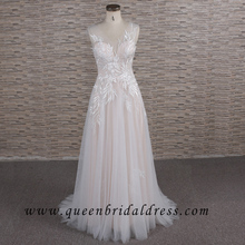 Romantic Nude party gown Applique Lace Wedding Dress Bridal Gown