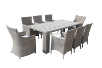 Poly wood table top 8 seater outdoor furniture rattan dining set