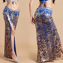 Q-6035 Most popular design leopard ice silk exotic belly dance wear long skirt