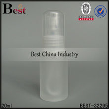 20ml frosted glass bottle with clear plastic sprayer and cap, alibaba china spray perfume bottle, glass bottle tap and sprayer