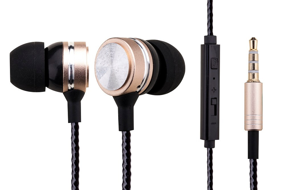 Wired metal earphone, in ear earbuds with mic and remote control for gift