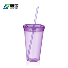 China factory best price tritan bpa free biodegradable custom logo double wall 16 oz water plastic cups with lids