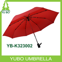 2016 wholesale red color fiberglass frame 3 fold windproof umbrella with auto open and close