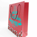 Cheap Price Custom Design Printing Red Paper Christmas Gift Bags With Handles