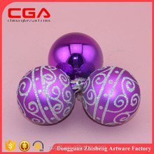 Factory New design Hollow 6cm hanging xmas plastic ball for tree