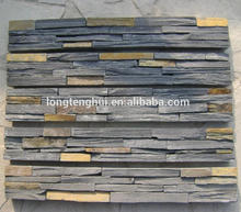 black mix rusty color natural slate ledge stone stacked stone panels