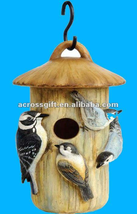 Hand painted resin birdhouse